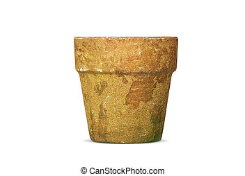 Old clay pot isolated on white background