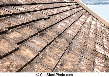 Old clay roof tiles with mold and algae on the surface.