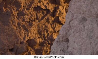 Old clay walls up close in Uzbekistan - A close shot where...