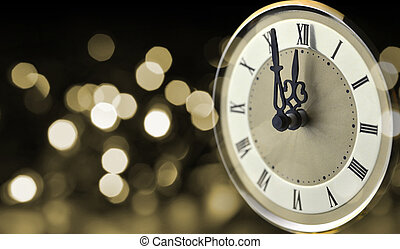 Old clock at New Year midnight. - Old clock at New Year...