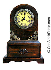 old clock - Clock with a wooden drawer as bottom.