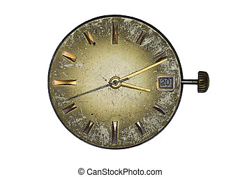 Old clock dial isoleted on white background
