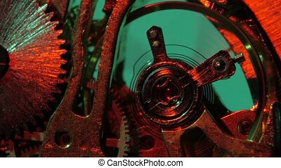 Old clock gears mechanism. Close up