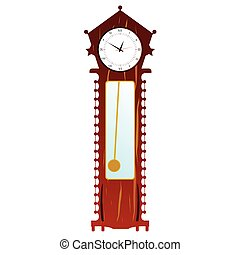 old clock in brown color illustration on white background