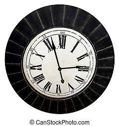Old clock isolated