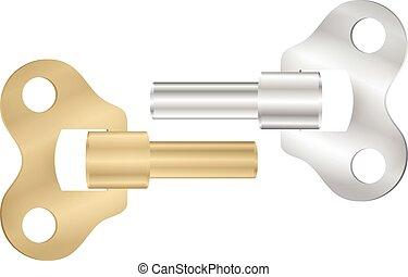 Old clock key winder set. Vector illustration Eps 10