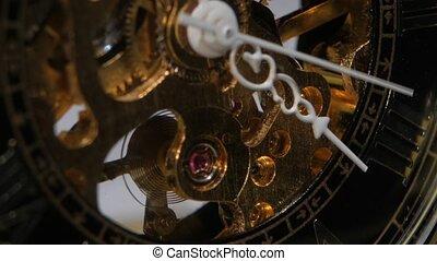 Old clock mechanism. Close up