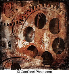 Old clock mechanism on an abstract dark background
