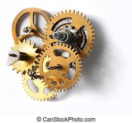 Old clock mechanism - Old clockwork mechanism with brass...