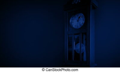 Old Clock On Wall At Night Loop - Looped shot of old manual...