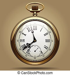 Old clock - Realistic image of old vintage clock face. Retro...