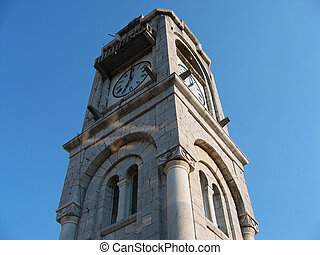 Old clock tower at Dimitsana town in Peloponnese Greece