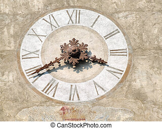 Old clock tower - close-up of clock. Italian architecture.