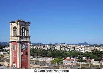 old clock tower Corfu town landmark