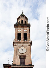 old clock tower in Parma, Italy