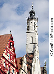 Old clock tower in Rothenburg