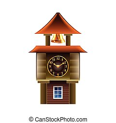 Old clock tower isolated on white vector