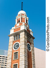 Old clock tower, with its classical architecture, Hong Kong, China
