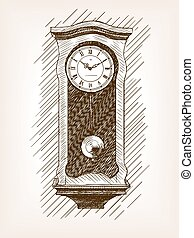 Old clock with pendulum hand drawn sketch vector