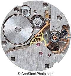 Old clockwork it is isolated on a white background