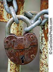 Old closed padlock