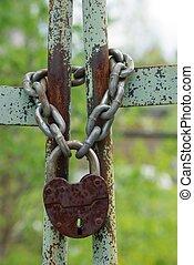 Old closed padlock