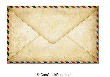 old closed paper air post letter isolated on white