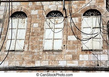 old closed windows in Jerusalem old city