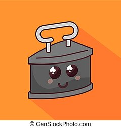 old clothes iron character icon