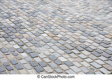 Old cobble stone pavement in Barcelona Spain