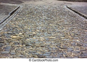 Old cobbled road in Lviv, Ukraine