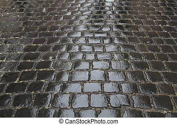 old cobbled surface of the road