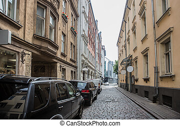 old cobblestone street in the city center.