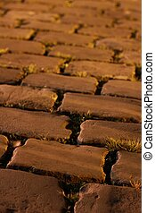 old cobblestones at night
