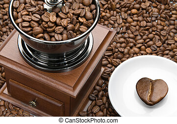 Old coffee grinder and he