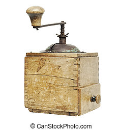 old coffee grinder isolated on a white background