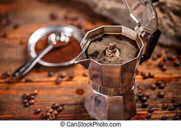 Old coffee maker - Espresso in moka pot old coffee maker