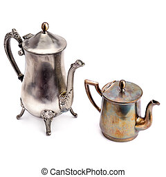 Old coffee pot and teapot isolated on white background.