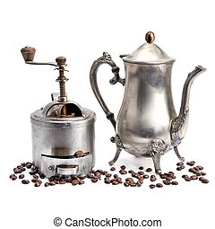 Old coffee pot, grinder coffee and beans isolated on white background.