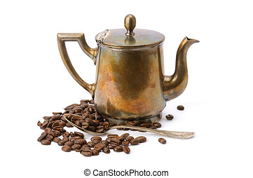 old coffee pot, spoon and coffee beans isolated on white background