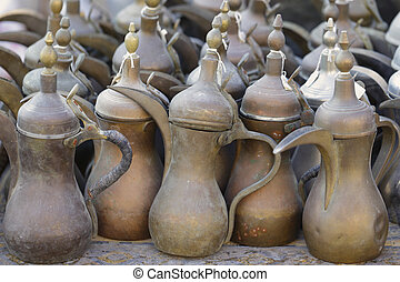 Old coffee pots in Doha souq