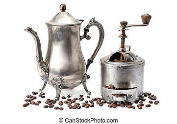 Old coffepot, grinder coffee and beans isolated on white background.