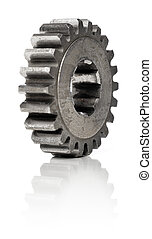 Old Cog - Old metallic cog gear wheel on white, with natural...