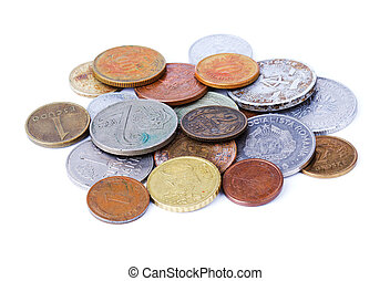 Old coins isolated over white