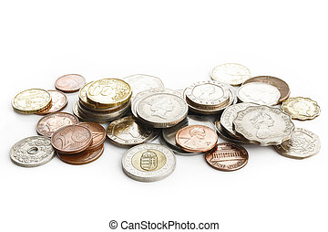 Old coins on white background