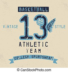 old college vintage style print design with basketball theme