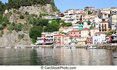 old colorful buildings Parga Greece