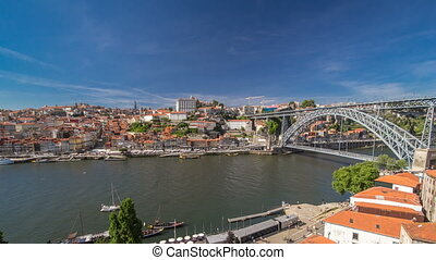 Old colorful houses in old part of Porto, view from cable car over  Douro river timelapse hyperlapse