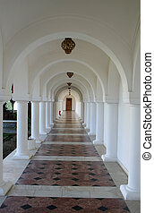 Aligned columns in an old monastery