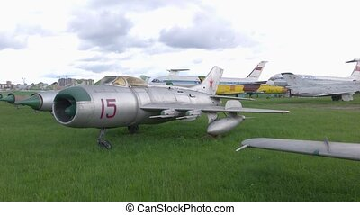 Old combat aircraft Soviet fighter combat aircraft MiG-15 slow motion
